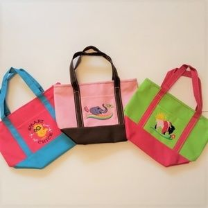 3 Small Embroidered Canvas Totes